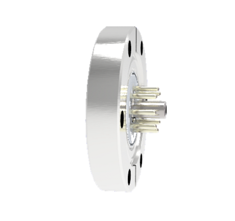 Octal Connector, 8 Pin, 350V, 5Amp, Alumel Conductors, Feedthrough in a CF2.75 Flange Without Plugs