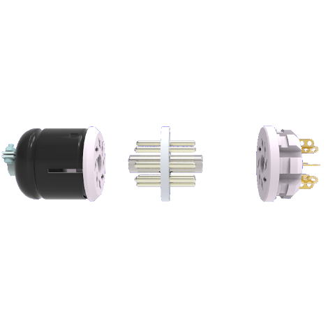 OCTAL CONNECTOR, 8 PIN, 350V, 5AMP, ALUMEL CONDUCTORS, WELD IN FEEDTHROUGH WITH PLUGS