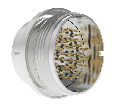 32 Pin Circular Connector, 26482 Series, 1kV, 3 Amp, Gold Plated Conductors, Double Ended, Weld in