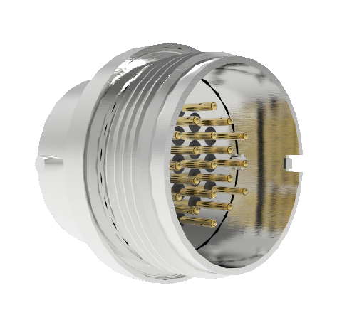 19 Pin Circular Connector, 26482 Series, 1kV, 3 Amp, Gold Plated Conductors, Double Ended, Weld in