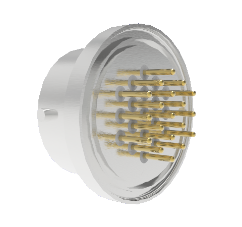 19 Pin Circular Connector, 26482 Series, 1kV, 3 Amp, Gold Plated Conductors, Single Ended, Weld in