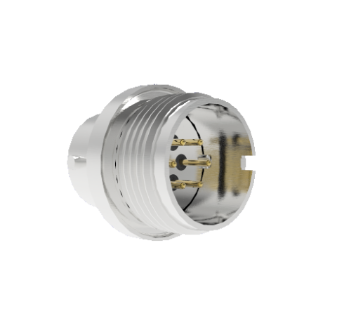 6 Pin Circular Connector, 26482 Series, 1kV, 5 Amp, Gold Plated Conductors, Double Ended, Weld In