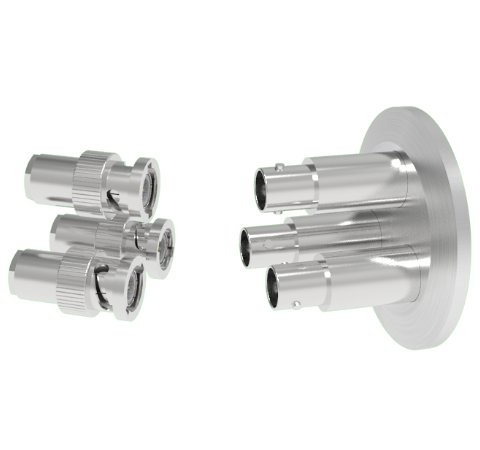 BNC Grounded Shield Recessed 500V 3.6 Amp 0.094 304 Stn. Stl. Conductor 3 each KF40 Flange With Plug