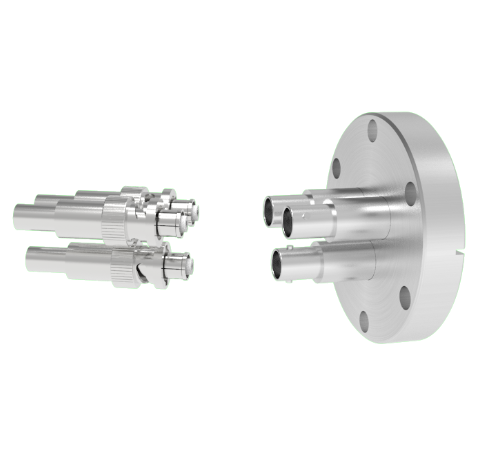 SHV Grounded Shield Recessed 5kV 10 Amp 0.094 Nickel Conductor 3 each in a CF2.75 Flange With Plug