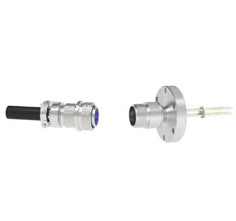 4 Pin 5015 Style Circular Connector, 700V, 16 Amp, Nickel Conductors in a CF2.75 Flange With Plug
