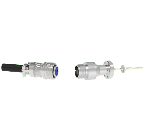 2 Pin 5015 Style Circular Connector, 700V, 16 Amp, Nickel Conductors in a CF1.33 Flange With Plug