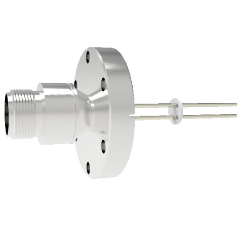 2 Pin 5015 Style Circular Connector, 700V, 16 Amp, Nickel Conductors in CF2.75 Flange Without Plug