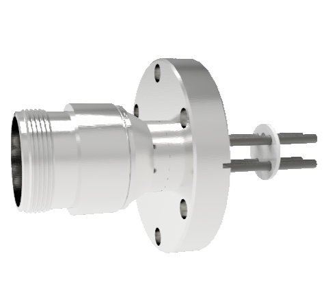 4 Pin 5015 Style Circular Connector, 700V, 25 Amp, Nickel Conductors in a CF2.75 Flange Without Plug