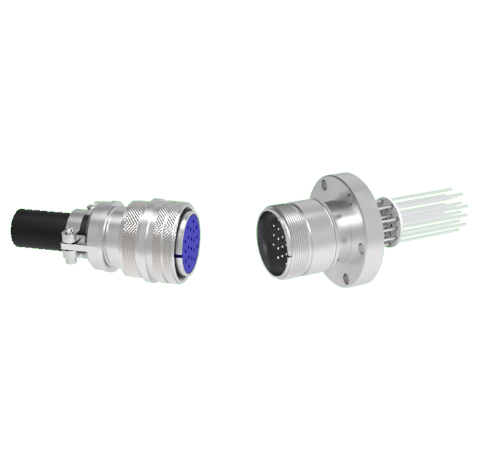 20 Pin 5015 Style Circular Connector, 700V, 4.8 Amp, Alumel Conductors in a CF2.75 Flange With Plug