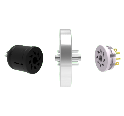 OCTAL CONNECTOR, 8 PIN, 350V, 5AMP, ALUMEL CONDUCTORS, FEEDTHROUGH IN A CF2.75 FLANGE WITH PLUGS
