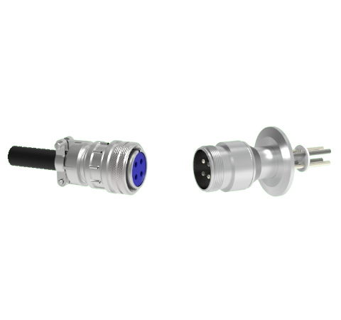 4 Pin 5015 Style Circular Connector, 700V, 46 Amp, Molybdenum Conductor in a CF2.75 Flange With Plug