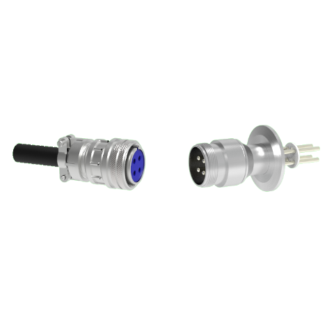 4 Pin 5015 Style Circular Connector, 700V, 25 Amp, Nickel Conductors in a CF2.75 Flange With Plug