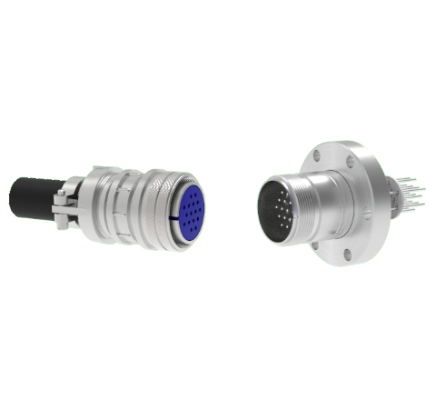 16 Pin 5015 Style Circular Connector, 700V, 4.8 Amp, Alumel Conductors in a CF2.75 Flange With Plug