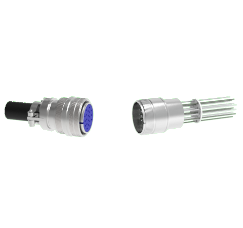 Thermocouple, Type K, 10 Pair Circular connector in a weld in adapter With Plug
