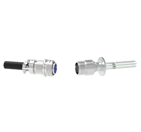 10 Pin 5015 Style Circular Connector, 700V, 4.8 Amp, Alumel Conductors in a KF25 Flange With Plug