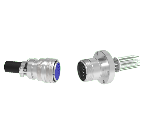 Thermocouple, Type K, 10 Pair, Circular Connector in a CF2.75 Conflat Flange With Plug