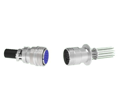 Thermocouple, Type K, 10 Pair Circular Connector in a KF40 ISO Quick Flange With Plug