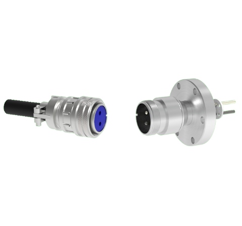 2 Pin 5015 Style Circular Connector, 700V, 46 Amp, Molybdenum Conductor in a CF2.75 Flange With Plug