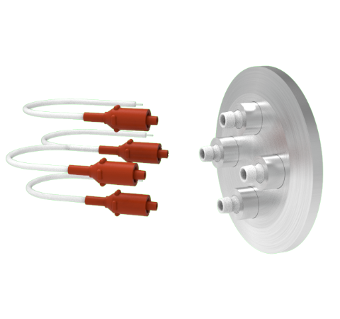 4 Pin 12kV 3 Amp 0.030 Gold Plated Molybdenum Conductor in a KF40 With Plug