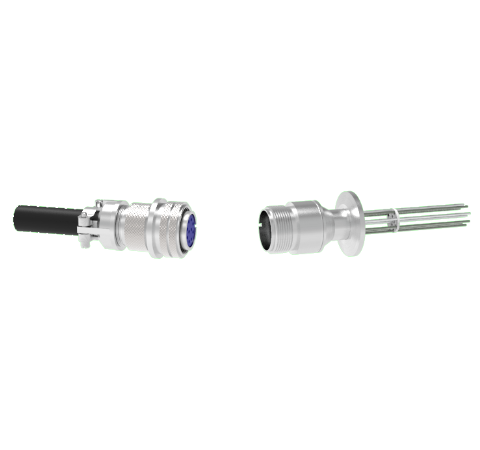 Thermocouple, Type K, 5 Pair Circular Connector in a KF25 ISO Quick Flange With Plug