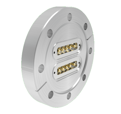 Sub D 5 Pin Power, 500V, 20 Amp, 0.142 Stn. Stl. Gold Plated Conductor, x2 in a CF4.50 Without Plugs