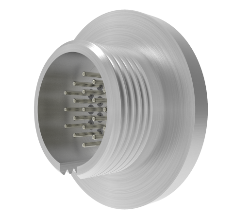 MICRO C, 19 PIN circular connector, 250V, 0.018 inch diameter RHODIUM PLATED CONDUCTORs, WELD in