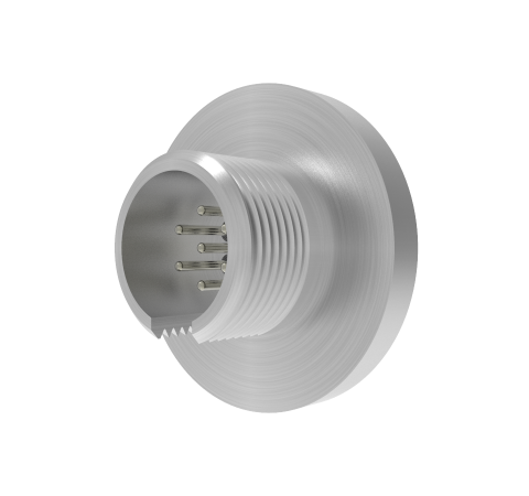 MICRO C, 7 PIN CIRCULAR CONNECTOR, 250V, 0.018 INCH DIAMETER RHODIUM PLATED CONDUCTORS, WELD IN
