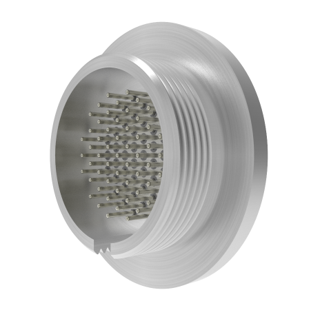 MICRO C, 55 PIN CIRCULAR CONNECTOR, 250V, 0.018 INCH DIAMETER RHODIUM PLATED CONNECTORS, WELD IN