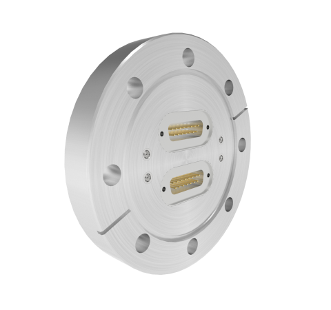 15 Pin Sub D 24308 Series 500V, 5 Amp, With 4 each 50 Ohm SMP Connectors in a CF4.50 Conflat Flange