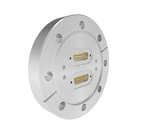 SMP 50 Ohm Grounded Shield Recessed Double Ended 500V CF4.50 Flange with Sub D connectors