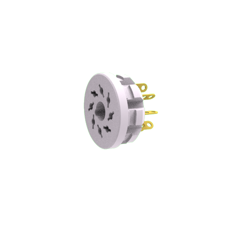 OCTAL PLUG VACUUM SIDE 8 PIN, 350V, 5AMP, PUSH ON MULTI-PIN CONNECTOR CERAMIC BODY SOLDER CONTACTS
