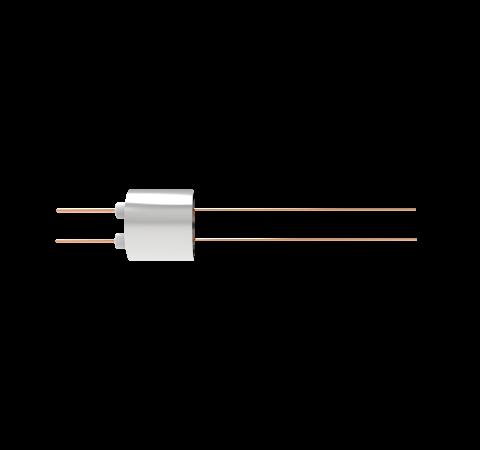 2 Pin, 0.032 Inch Diameter Copper Conductors, 2kV, 16 Amp, 0.5 Inch Weld in feedthrough
